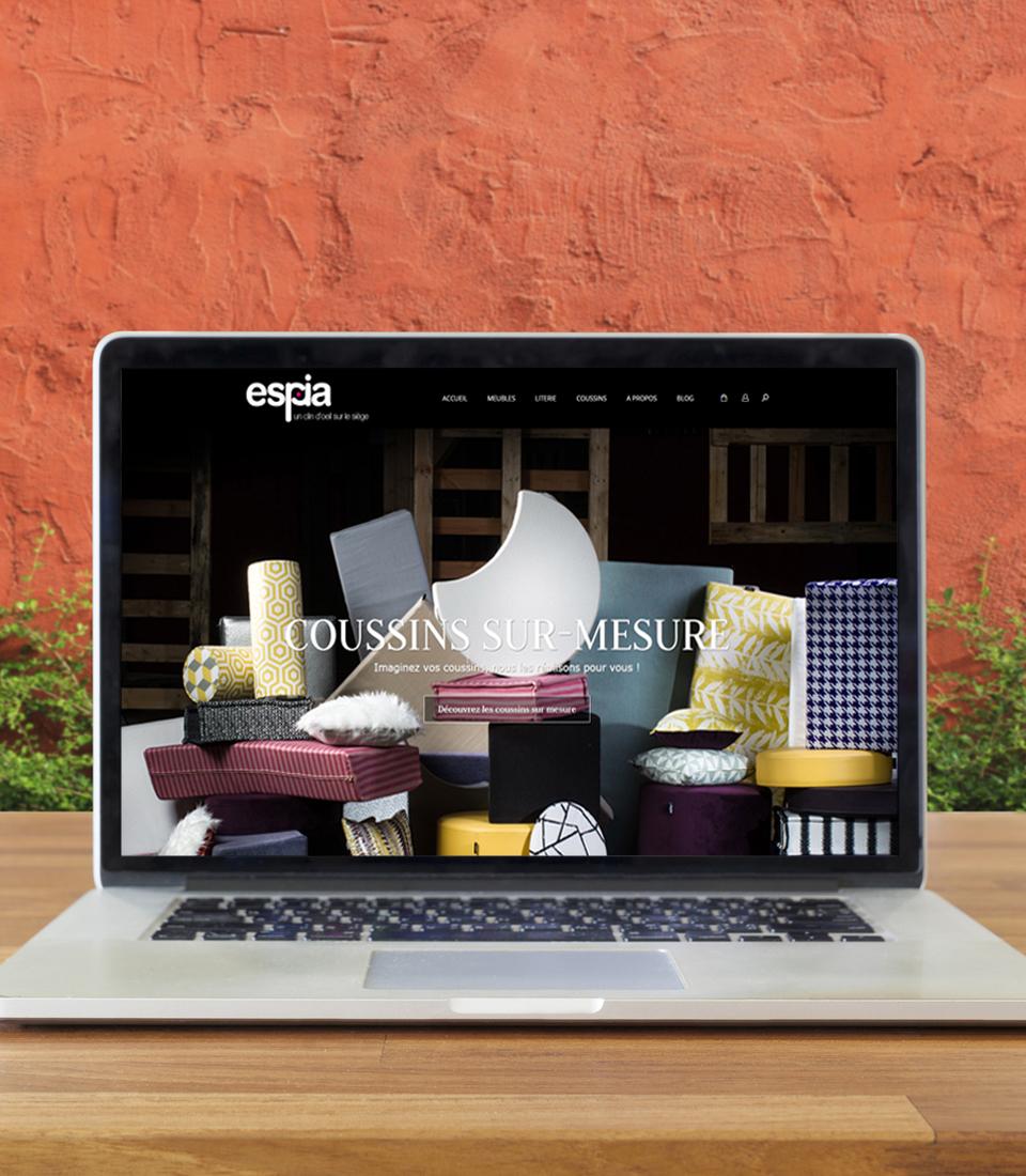 Meubles Espia, fabriquant landais. Création du logotype. Développement du site marchand.