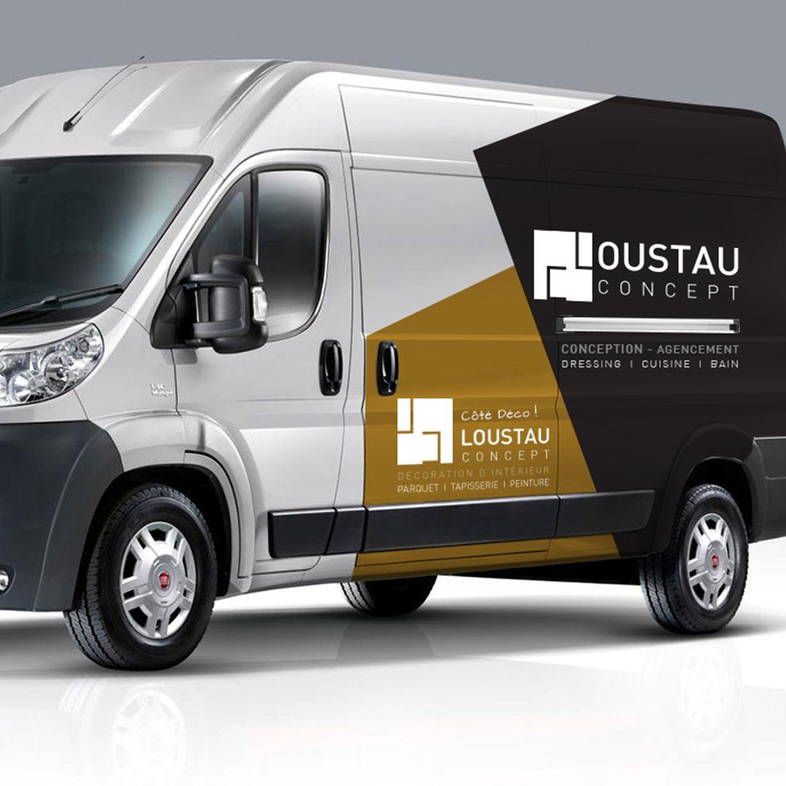 Création identité visuelle logo véhicule Loustau Concept