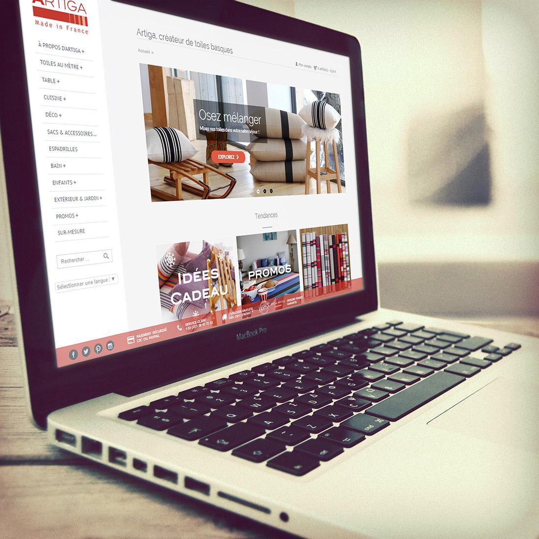 Création site e-commerce Artiga
